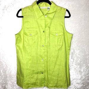 RICHARD MALCOM Sleeveless Button Up Linen Shirt